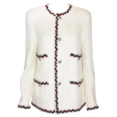 Chanel Ivory Tweed Jacket with Crochet Red and Blue Yarn Trim