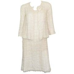 Chanel Ivory Tweed Knit Dress and Jacket Set with Camellia Brooch