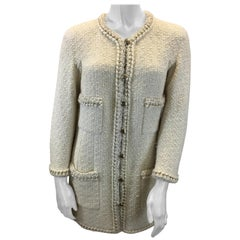 Chanel Ivory Wool Jacket With Chain Trim