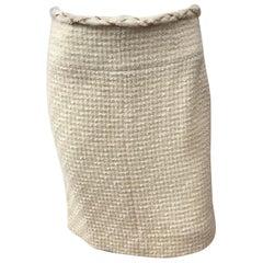 Chanel Ivory Wool Skirt-38