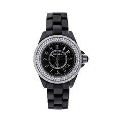 Chanel J-12 Black Ceramic Diamond Watch J12-H0949