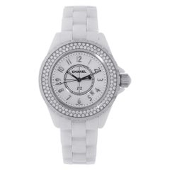 Chanel J-12 White Ceramic Diamond Bezel Watch H0967