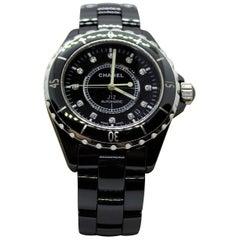 Chanel J12 0.09 Carat Diamond High-Tech Ceramic and Steel Black