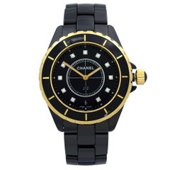 Chanel J12 18 Karat Yellow Gold Black Ceramic Diamond Quartz Ladies Watch H2544