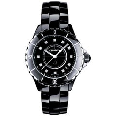 Chanel J12 Black Ceramic and Diamond Ladies Watch H1625