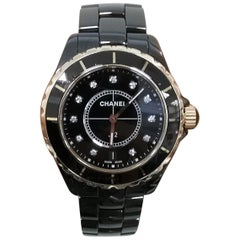 Chanel J12 Black Ceramic and Rose Gold Diamond Dial Watch H2544