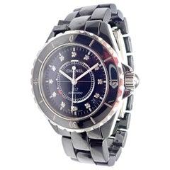 Chanel J12 Black Ceramic Automatic Diamond Watch Ref H1626