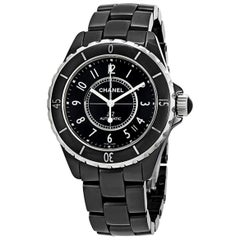 Chanel J12 Black Ceramic Automatic Midsize Unisex Watch Black Ceramic Face