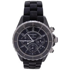 Chanel J12 Black Ceramic Chronograph Black Dial Automatic Womens Watch