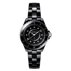 Chanel J12 Black Ceramic Diamond Dial Ladies Watch H5701