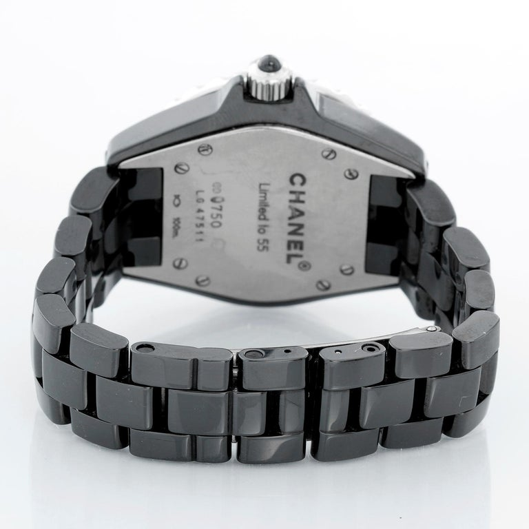 Chanel J12 Black Ceramic Diamond Watch In Excellent Condition For Sale In Dallas, TX