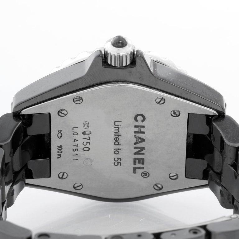 Women's Chanel J12 Black Ceramic Diamond Watch For Sale