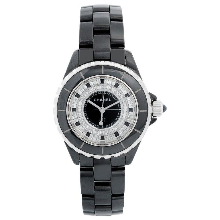 Chanel J12 Black Ceramic Diamond Watch For Sale