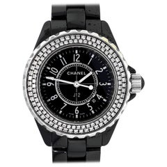 Chanel J12 Black Dial Diamond Bezel Ladies Watch