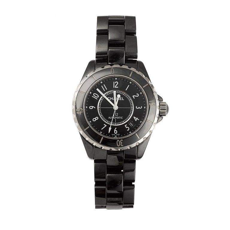 Women's or Men's Chanel J12 Ceramic Steel Black H0685 Automatic Wristwatch For Sale