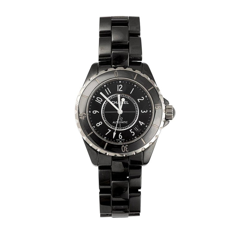 Chanel J12 Ceramic Steel Black H0685 Automatic Wristwatch For Sale
