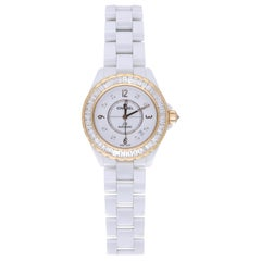 Chanel J12 Editions Exclusives 18 Karat Yellow Gold and White Ceramic Wristwatch