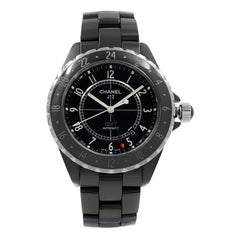 Chanel J12 GMT Black Arabic Dial Ceramic Automatic Unisex Watch H2012