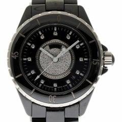 Chanel J12 H1757 Automatic Black Ceramic Diamond 2 Year Warranty #I2053