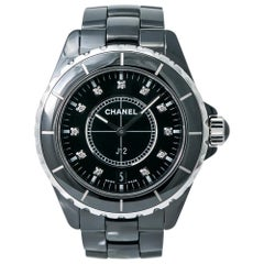 Chanel J12 H2124 Unisex Quartz Ceramic Watch Black Diamonds Dial
