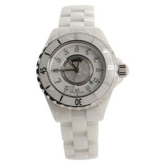 Chanel J12 Pave Quartz Watch Ceramic and Stainless Steel with Diamond Indicators