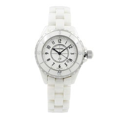 Chanel J12 White Arabic Dial Ceramic Steel Quartz Ladies Watch H0968