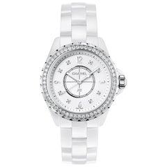 Chanel J12 White Ceramic and Diamonds Ladies Watch H3110