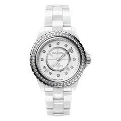Chanel J12 White Ladies Diamond Bezel Watch H7189