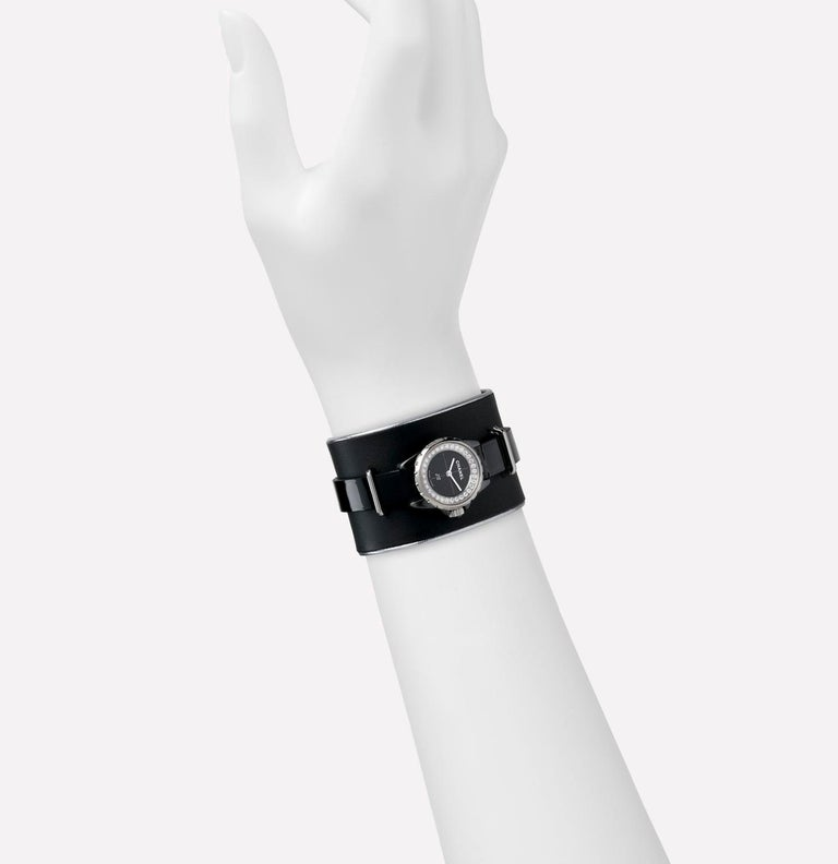 Contemporary Chanel J12 XS Watch Small Black Leather Cuff, Black Ceramic and Steel Brilliant For Sale