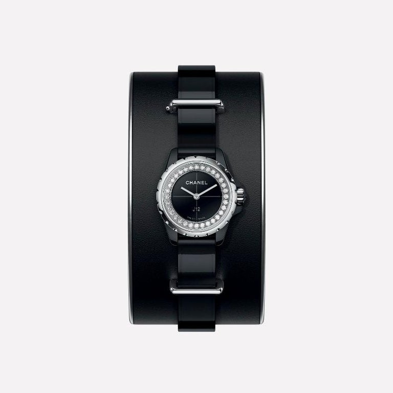 Chanel J12 XS Watch Small Black Leather Cuff, Black Ceramic and Steel Brilliant In New Condition For Sale In Firenze, IT