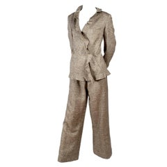Chanel Jacket & Pants Suit From Autumn 2005 in Silk Alpaca Wool Blend w Ruffles