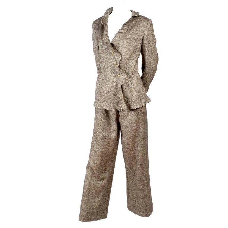 Chanel Jacket & Pants Suit From Autumn 2005 in Silk Alpaca Wool Blend w Ruffles