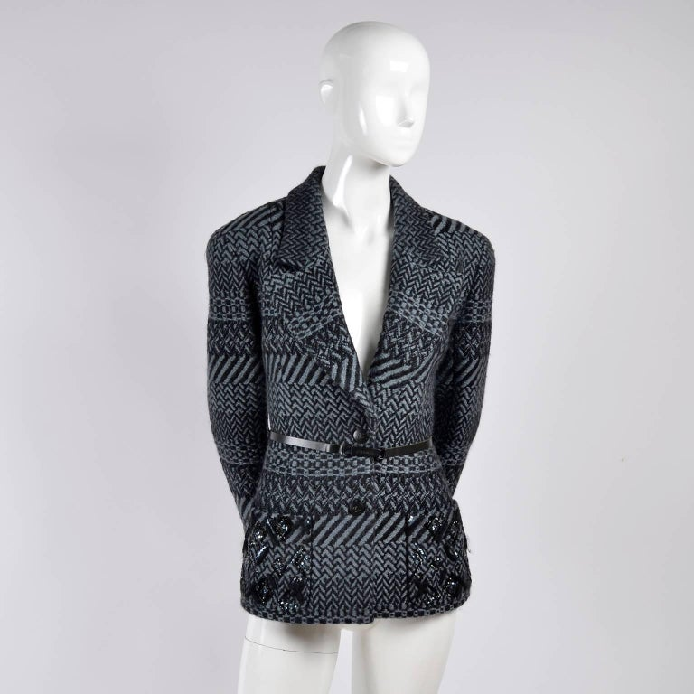 Black Chanel Jacket 2000 Wool Blazer w/ Belt Pockets Sequins & Rhinestone CC Buttons For Sale