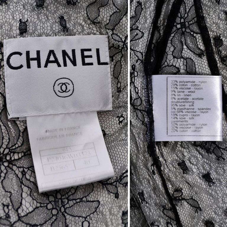 Chanel Jacket in Black & White Lesage Tweed W Lace Lining & Eyelash Trim  For Sale 5