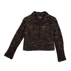 Chanel Brown Black and White Tweed Jacket with Black Shiny Threads