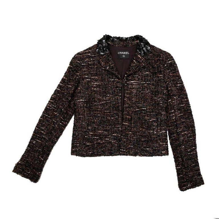 be5803dd2d Chanel Brown Black and White Tweed Jacket with Black Shiny Threads For Sale