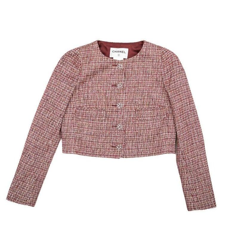 CHANEL Jacket in Burgundy Fabric and Gold Metallic Threads Size 40FR