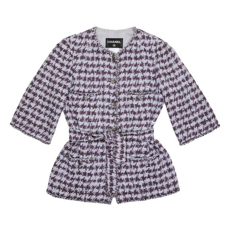 Chanel Jacket in Gray Cotton With Purple Patterns