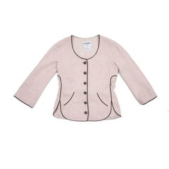 CHANEL Jacket 'Les Fonds Marins' in Pale Pink Cotton Tweed and Black Edging 38