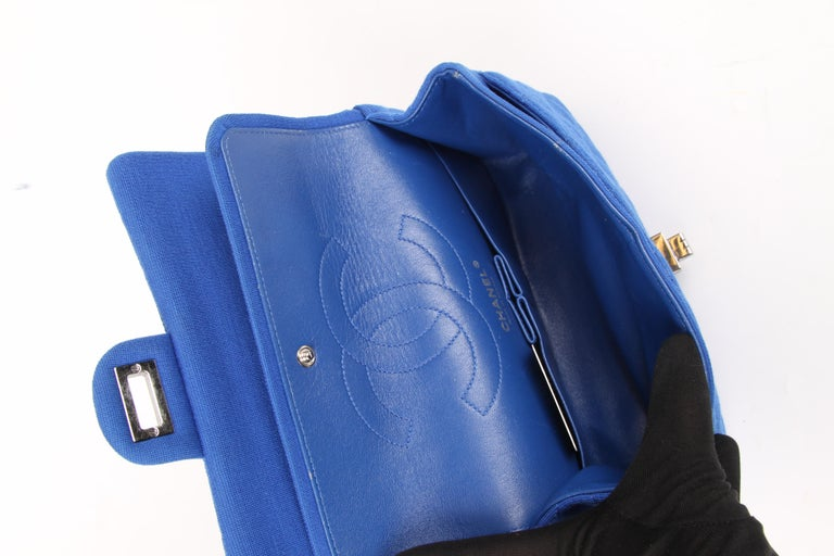Blue Chanel Jersey Quilted Reissue Bag - blue For Sale