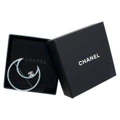 Chanel Jewelled Ruthenium Crescent Moon Brooch