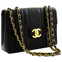 "CHANEL Jumbo 11"" Chain Shoulder Bag Black Vertical Quilted Lamb"