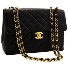 "CHANEL Jumbo 11"" Large Chain Shoulder Bag Flap Lambskin Black"