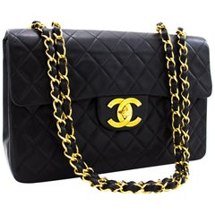 "CHANEL Jumbo 13"" Maxi 2.55 Chain Flap Shoulder Bag Lambskin Black"