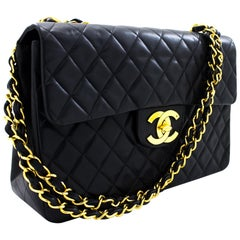 "CHANEL Jumbo 13"" Maxi 2.55 Chain Flap Shoulder Bag Lambskin Black Leather"