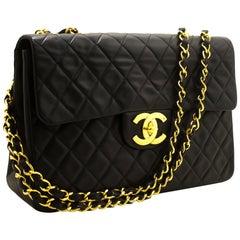 "CHANEL Jumbo 13"" Maxi 2.55 Chain Flap Shoulder Bag XL Black Lamb"
