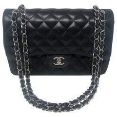 Chanel Jumbo Black Lambskin Double Flap SHW