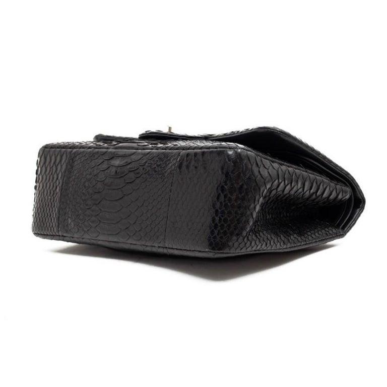 CHANEL Jumbo Black Python Timeless Bag For Sale 6