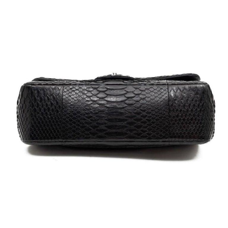 CHANEL Jumbo Black Python Timeless Bag For Sale 7