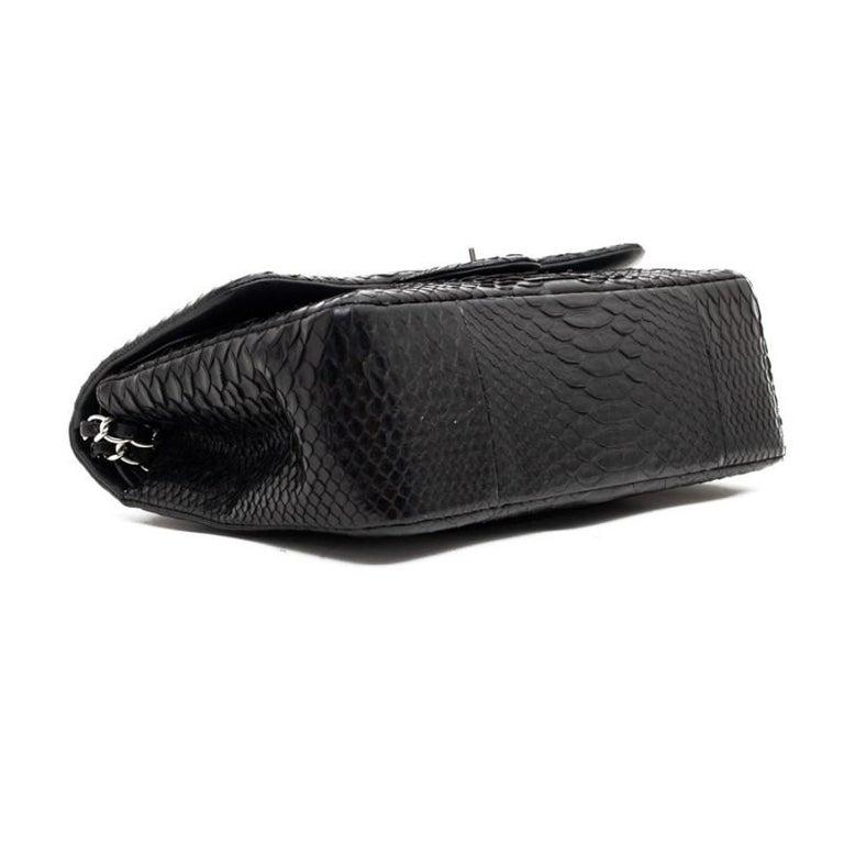 CHANEL Jumbo Black Python Timeless Bag For Sale 8